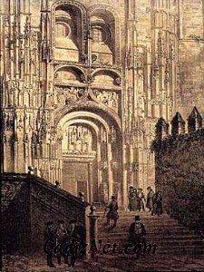 Cadiz:Iglesia de Santa María (Arcos de la Frontera) Grabado (siglo XIX)
