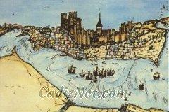 Cadiz:Este grabado de 1513 muestra la villa medieval de Cádiz. En él pueden verse destacadas la Catedral (actual Parroquia de Santa Cruz) y el castillo, del que en la actualidad no queda nada.