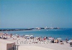 Cadiz:Playa de la Caleta y Castillo de San Sebastián al fondo