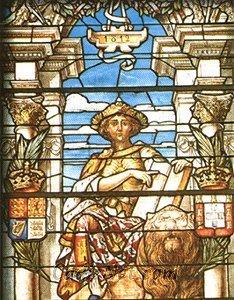 Cadiz:Vidriera de la jura de la Constitución de 1812 (parte superior)
