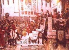 Cadiz:Promulgación de la Constitución de 1812. Famoso lienzo de Salvador Viniegra que se encuentra en el Museo de las Cortes de Cádiz