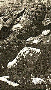 Cadiz:La escultura de un león, que formaría parte de un monumento funerario, apareció en la necrópolis a cuatro metros de profundidad (1925)