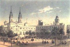 Cadiz:Aspecto general de la plaza de San Antonio según una litografía de Deroy (mediados del siglo XIX)